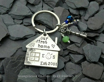 Hand Stamped Personalised 'Our First Home' House Keyring, Anodised Aluminium, Couples Gift, Couples First Home, Date, Stamped Keyring, Key.