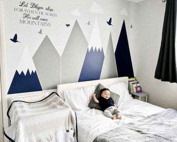 Mountains Wall Decal Let Him Sleep Quote Woodland Clouds Customized Personalized Washable Headboard Sticker Nursery Decor #mountains001