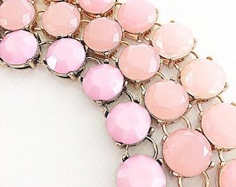 Statement Bracelet, Blush Pink Bracelet, Blush Pink Wedding, Blush Pink Arm Candy, Blush Pink Jewelry
