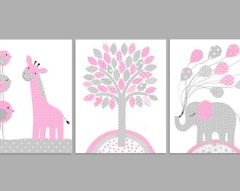 Girl's Room Decor, Nursery Wall Art, Elephant Nursery, Giraffe Nursery, Baby Girl, Baby Room Decor, Nursery Canvas, Nursery Prints, Toddler