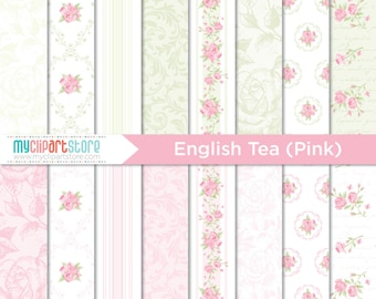 Digital Paper - English Tea (Pink) Rose, Shabby Chic, Scrapbook Paper, Digital Pattern, Commercial Use, JPEG, PDF