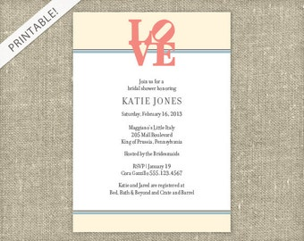LOVE Bridal Shower Invitation - Bridal Shower Invite - Philly Love Statue - Printable