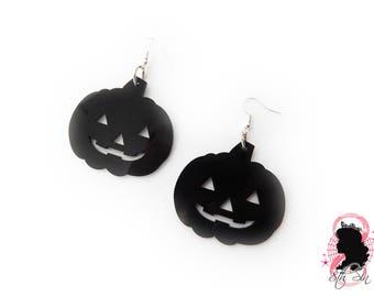 Black Acrylic Pumpkin Earrings, Glossy Black Acrylic Pumpkin Earrings, Black Laser Cut Acrylic Pumpkin Earrings, Black Pumpkin Earrings