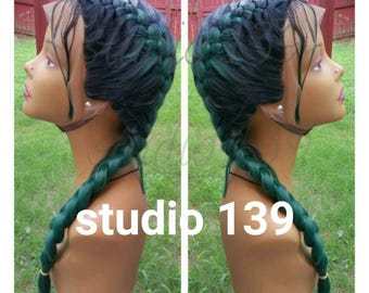 Braided ombre green Lace Front Wig with baby hair