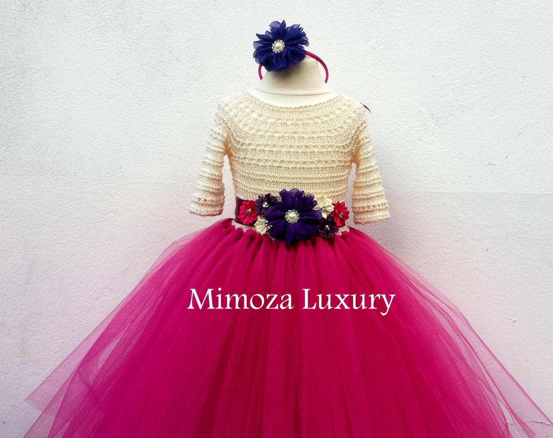 Flower girl dress Christmas tutu dress sleeve tutu dress