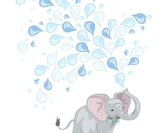 Elephant Print, Art Print, great for Baby Shower Guestbook or nursery wall art