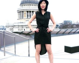 Black Linen Dress,Hooded Dress,Button down dress,60s Mod dress,Women linen clothing,Linen midi dress,Tuxedo Dress,Little black dress