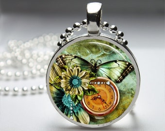 Altered Art Clock Pocket Watch Round Pendant Necklace with Silver Ball or Snake Chain Necklace or Key Ring