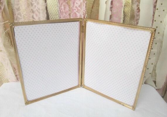 Vintage Gold Double Frame Bi Fold Hinged metal 8x10 Wedding