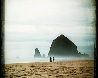 Ocean photograph, Landscape Photography by Kelly Angard - seascape, sand, beach photo, couple, romantic dreamy