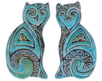 Cat sculptures // Cat art // Ceramic cats // Cat Wall art  // Cat ornaments // Pair of cats deco // 26cm // Turquoise