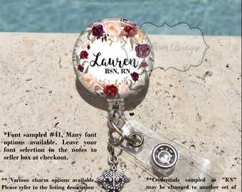 Retractable Badge Holder, Burgundy Watercolor Floral Personalized Badge Reel, Name Badge Reel, Nurse Badge Reel, Badge Holder, MB463