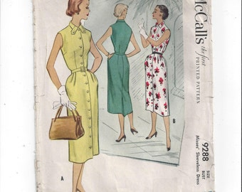 McCall's 9288 Pattern for Misses' Shirt Waist Dress, Size 18, From 1953, Vintage Home Sewing Fashion, Button Dress, Mid Century Style