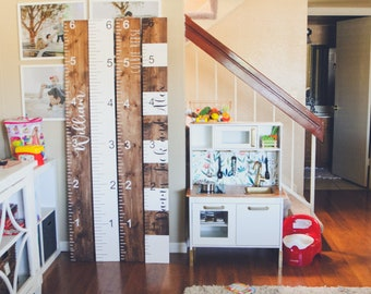 HAND PAINTED Growth ruler, growth chart, measuring stick, kid ruler, giant ruler, family growth chart, wooden ruler, wooden growth ruler