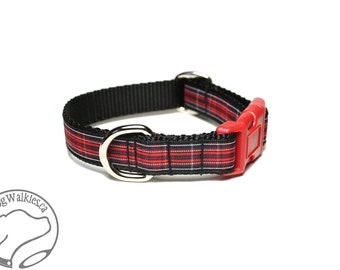 """Pride of Wales Tartan Dog Collar - 3/4"""" (19mm) Wide - Black and Red Plaid - Martingale or Side Release - Choice of style and size"""