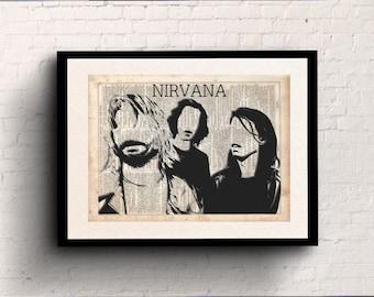 Nirvana Minimalist Poster Dictionary Art Print Prints On Paper