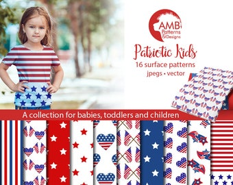 Stars and Stripes digital papers, Fourth of July, Patriotic digital papers, commercial use, AMB-1357