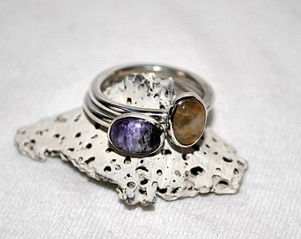 Stacked Stone Sterling Silver Rings