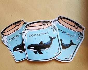 Large Empty The Tanks Stickers 3 PER PACK