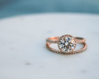 7mm Halo Engagement Ring, Round Moissanite Diamond,Engagement Ring, Moissanite Wedding Diamond, Rose Gold, Diamond