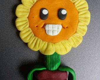 Handmade Polymer clay Sunflower fridge magnet