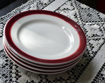 Set of 8 Salad Plates 1970s Restaurant Ware Buffalo China Side Plates Oxblood Red Ombre Fade & Vintage Syracuse Plates set of 8 salad plates restaurant