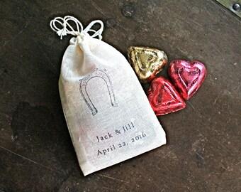 Wedding favor bags, set of 50 personalized cotton favor bags, Good Luck horseshoe, Western wedding, bridal shower favor, party favor bags