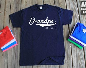 Grandpa EST Shirt Gift For Grandpa New Grandpa Est 2015 Fathers Day Gift Birthday Gift Christmas Gift New Grandpa Shirt Fathers Day Gift