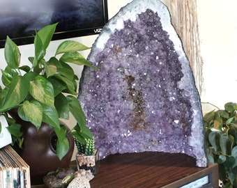 "24lbs. Amethyst Cathedral, HUGE 17"" Amethyst Crystal Cluster, Wiccan Altar Supplies, Healing Stone, Large Amethyst Geode Tower Crystal Tower"