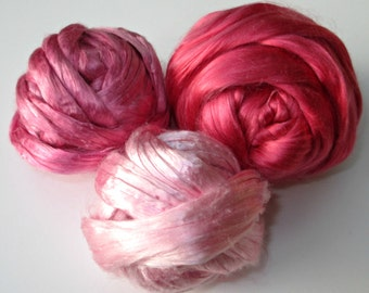 Dyed Mulberry Silk Roving: Pinks, for Spinning, Felting, Blending, Fiber Arts, Textile Art, 30 gm