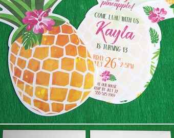 Pineapple Invitation Printable, Luau Invitation, Gold Pineapple Party, Hawaiian Invitation, Party like a Pineapple, INSTANT DOWNLOAD