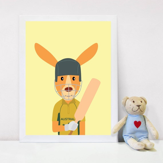 Nursery Decor Gift for Boys Kids Wall Art Kangaroo Wall
