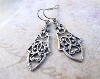 Silver dangle drop earrings Boho earrings everyday silver jewelry gift for her Gothic earrings
