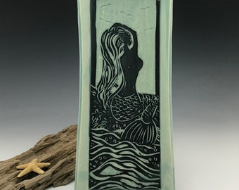 Sgraffito Mermaid Ceramic Tray in Blue and Black