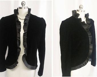 Vintage Bill Blass Collections III Velvet or Velveteen Evening Jacket Taffeta Pleats designer velvet jacket black velveteen jacket