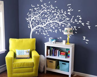 WHITE Tree Wall Decal - Nursery Wall Decoration - Tree Wall Sticker - Corner Tree decal MM035