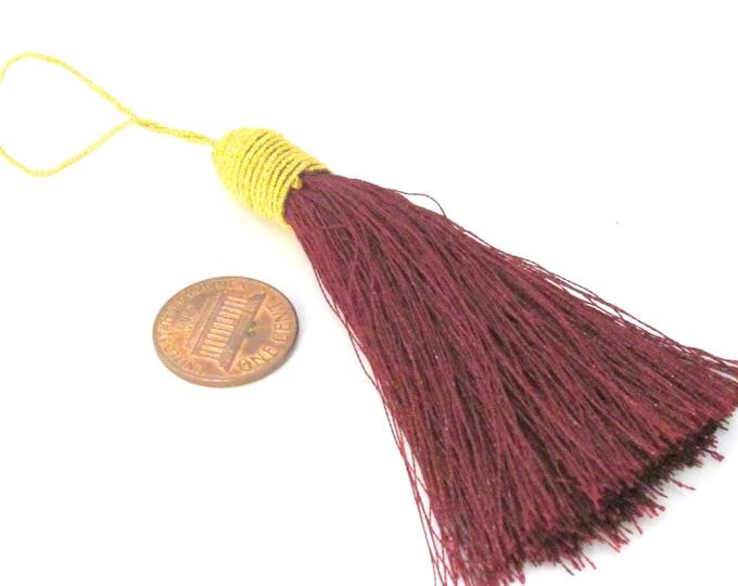 1 Piece  - Long dark wine color silky tassel charm with golden cord twine - tassle fringe craft supply - TS008