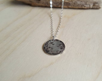 Full Moon Necklace - Silver Moon Pendant - Sterling Silver Jewelry - Moon Phase Necklace - Full Moon Pendant - Silver Celestial Jewelry