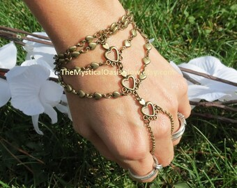 Wedding Slave Bracelet, Ring Bracelet, Heart Bracelet, Ring, Slave Ring, Hand Chain, Jewellery, Slave Bracelet Ring, Rustic, Woodland