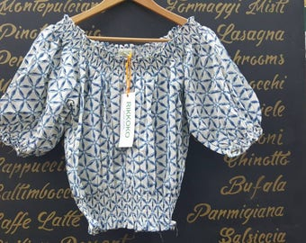 SALE!!! Free Size Blue Flower Cropped Top Off Shoulder  Big Sleeves made in Cotton  and Handmade  BLOCK Print