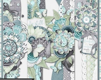On Sale 50% Be Still 12x12 Pattern Page Borders Elements and Embellishments, Digital Scrapbooking Kit