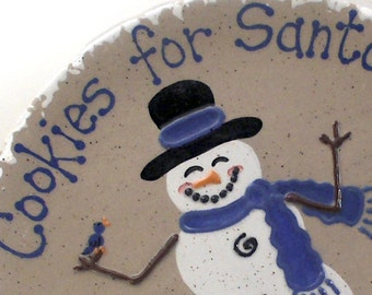 Snowman Cookies For Santa Plate - Personalized Christmas Cookie Plate  - Frosty the Snowman Plate - Santa Snack Plate - Christmas Eve Plate