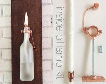 HARDWARE ONLY - 1 Wine Bottle Oil Lamp - Use Your Own Bottles - Hostess Gifts -gift for mom - copper lighting - gift for her