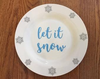 Let it Snow Snowflake Plate