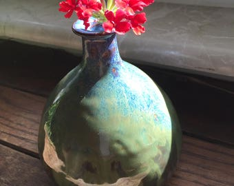 Hand Thrown Bud Vase in Stoneware Glazed in Blue and Green Glazes
