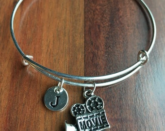 KIDS SIZE - Movie reel Initial Bracelet, silver Movie camera, Film camera Bracelet, Movie theme, Film theme, Gift for Movie Lovers