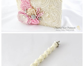 Wedding Lace Guest Book Pen Set, Ivory Pink Guest Book, Brooch Pen, Birthday Book Bridal Flower Guest Book, Signature Book, Beaded Book Pen