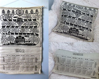 Swiss Country Fabric Linen 1992 Calendar Wall Hanging - Vintage French German Cushion Cover Linen -Hipster Boho Modern Rustic Linen