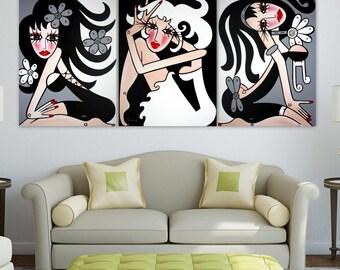 TRIPTYCH - Large Abstract Art -- Original Modern Pop Art