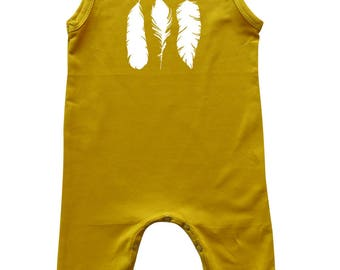 Feathers Silhouette Sleeveless Baby Romper for Boys and Girls